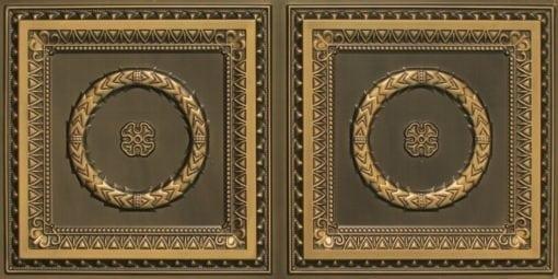 8210 Faux Tin Ceiling Tile - Antique Brass
