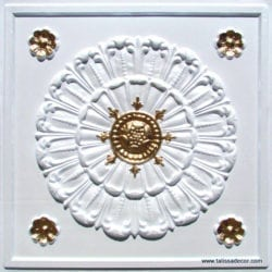151 White Pearl -Gold Faux Tin Ceiling Tile