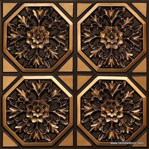 108 Antique Gold Faux Tin Ceiling Tile