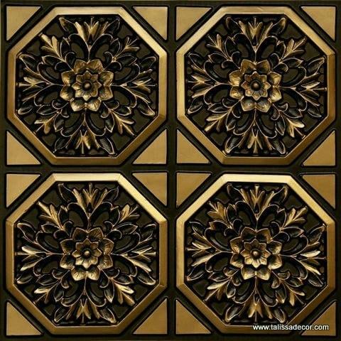 108 Antique Brass Faux Tin Ceiling Tile