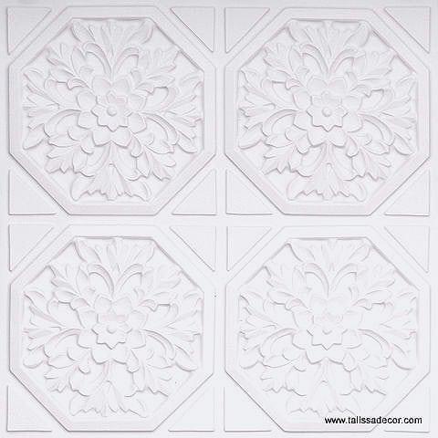 108 White Matte Faux Tin Ceiling Tile