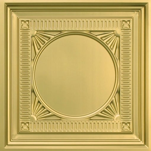 266 Faux Tin Ceiling Tile - coffered - Brass