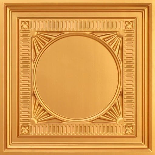 266 Faux Tin Ceiling Tile - coffered - Gold