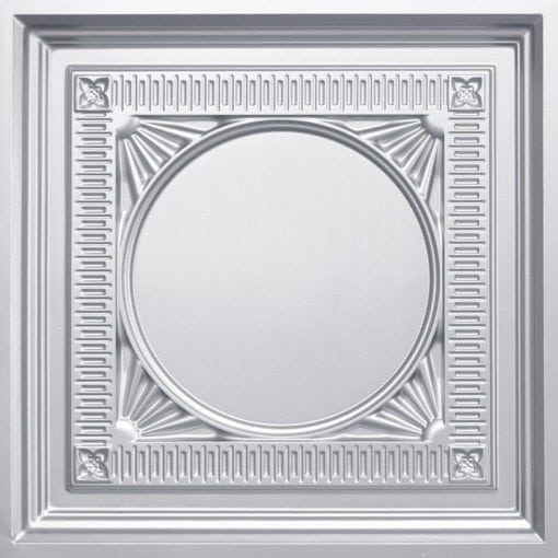 266 Faux Tin Ceiling Tile - coffered - Silver