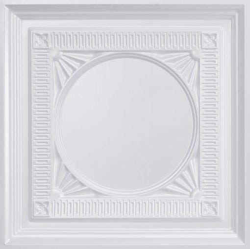 266 Faux Tin Ceiling Tile - coffered - White Pearl
