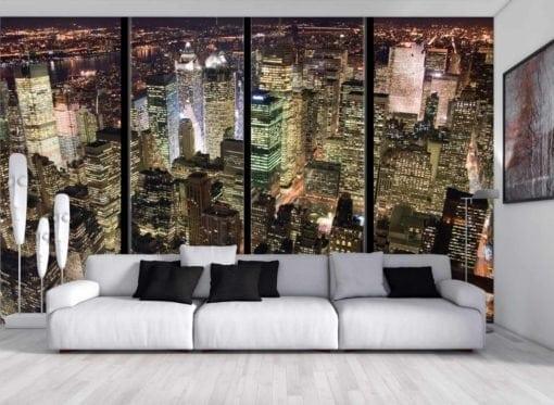 MU1383 - Manhattan at Night with Window Frames