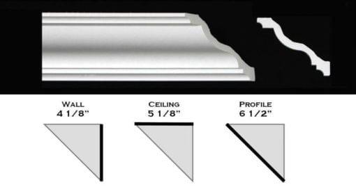 "130ML - Polystyrene Crown Molding 6 1/2"" wide"
