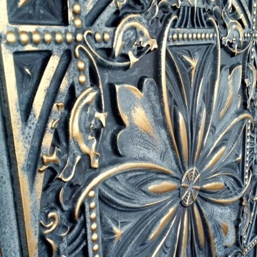 TD10 Faux Tin Ceiling Tile - Smocked Gold