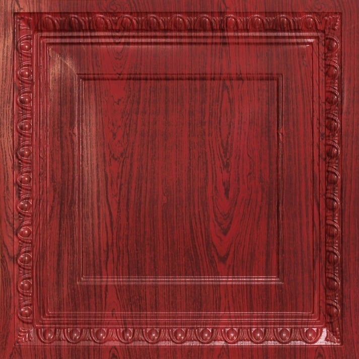 267 Faux Tin Ceiling Tile - Coffered - Rosewood