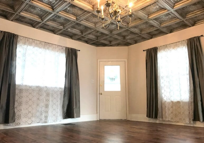 room with pvc ceiling tiles